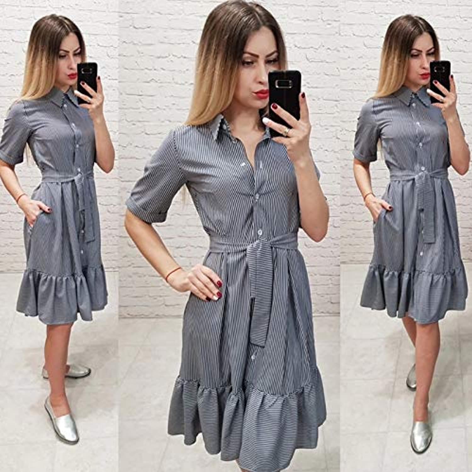 YKDDKK Women Striped Ruffled Sashes Party Dress Ladies Short Sleeve Turn Down Collar Summer Dress Women Vintage A Line Elegant Dress Elegant Women's Skirts Add Temperament To You
