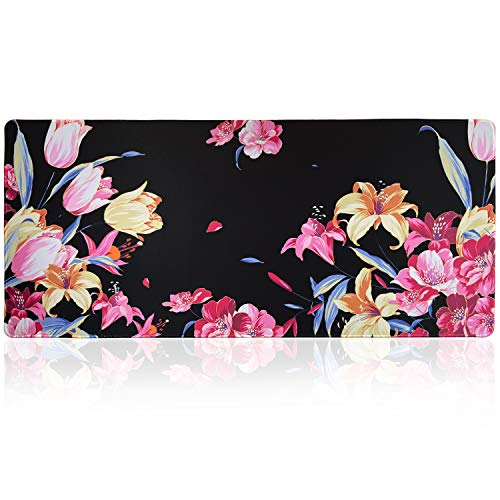 Extended Large Gaming Mouse Pad with Floral Design, XXL Mousepad-35.4''x15.7''x0.12''(0.3cm Thick), Office Desk Pad Keyboard Mat with Stitched Edges, Non-Slip Base, Water-Resistant,Tulip & Lily