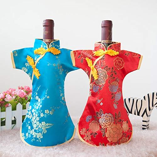 2 uds, Vestido chino de lujo, brocado de seda, fundas para botellas de vino, bolsa para el polvo, bolsas de embalaje de 750 ml, decoración de mesa de boda de Navidad