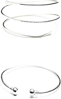 Handmade Wirework Swirl Arm Cuff Adjustable Arm Band Silver And Blue Nautical Arm Cuff
