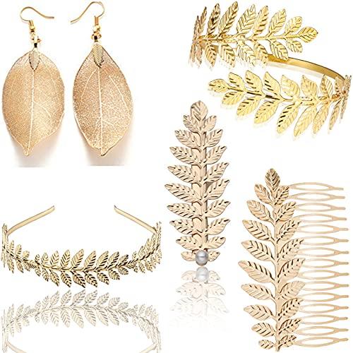 Hairband di nozze,5 Pezzi Foglia Corona Capelli Accessori,Fascia foglia d'oro,Accessori Costume da Dea Greca Foglie Corona Diadema Pettine per Bracciale Bracciale Fascia Foglia Oro per Donna