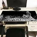 Alfombra de ratón XL para juegos PC / Mac portátil, gamer, jugador, jugador, tigre animal, negro y blanco, 60 x 30 cm