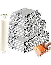 Amazon Brand - Eono Paquete de 20 Bolsas Premium de compresión al vacío con Bomba Manual (2 de Viaje, 2 pequeñas, 6 Medianas, 5 Grandes, 5 Jumbo)