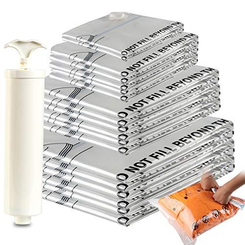 Eono Essentials - Paquete de 20 Bolsas Premium de compresión al vacío con Bomba Manual (2 de Viaje, 2 pequeñas, 6 Medianas, 5 Grandes, 5 Jumbo)