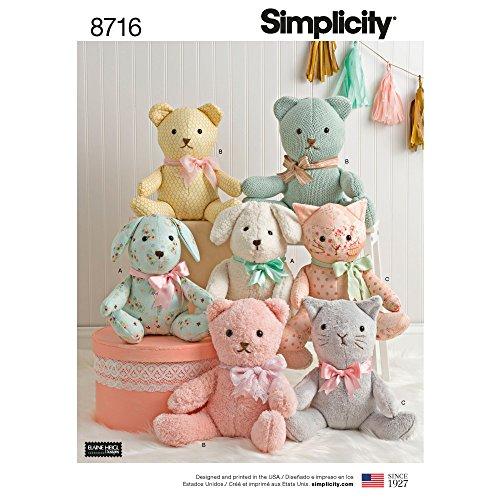 Simplicity 8716 Schnittmuster für Stofftiere, Bär, Katze und Hund, Einheitsgröße