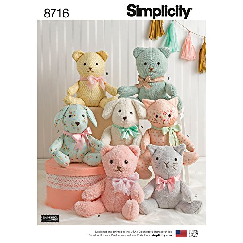 Simplicity 8716 Animals Stuffed Bear, Cat, and Dog Sewing Patterns by Elaine Heigl Designs, One Size Only