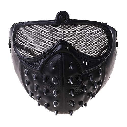 chenpaif Half Face Mask, Halloween Punk Devil Anime Half Face Mask Remaches de plástico Color metálico Ghost Masquerade Death Cosplay Disfraz Stage Party Props Black