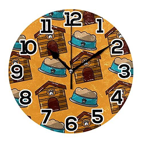 Reloj de Pared para Mascotas, Cuenco, patrón de Comida, Naranja, Redondo, acrílico, Negro, números Grandes, silencioso, sin tictac
