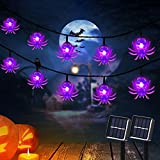 2-Pack Halloween Solar String Lights Outdoor, Purple Spider Fairy Lights Outdoor with 30 LEDs, Solar Powered Waterproof String Lights for Yard, Home, Halloween and Party Decorations (21')