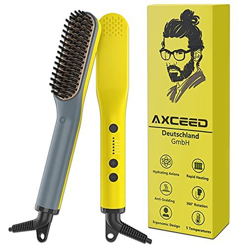 Pettine barba uomo, Axceed 2 In 1 Spazzola per Barba Elettrica, Pettine Lisciante per Capelli e Barba per Viaggi Affari con Temperatura Regolabile