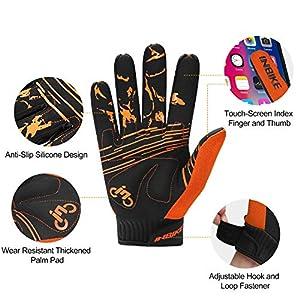 INBIKE Guantes MTB Dedos Largos para Hombre con La Funcionalidad De Pantalla Táctil, Guantes De Ciclismo Bicicleta Montaña Ciclista Bici Btt para Entretiempo(Naranja-XL)