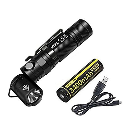 Nitecore MT21C Taschenlampe, 1000 Lumen, 90 Grad verstellbar, inkl. Akku NL1834R, inkl. Eco-Sensa USB-Kabel