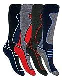 Sock Snob 4 Paires Enfant Hiver Hautes Laine Chaussettes Ski pour Bottes (31/36, SL500 Boys)