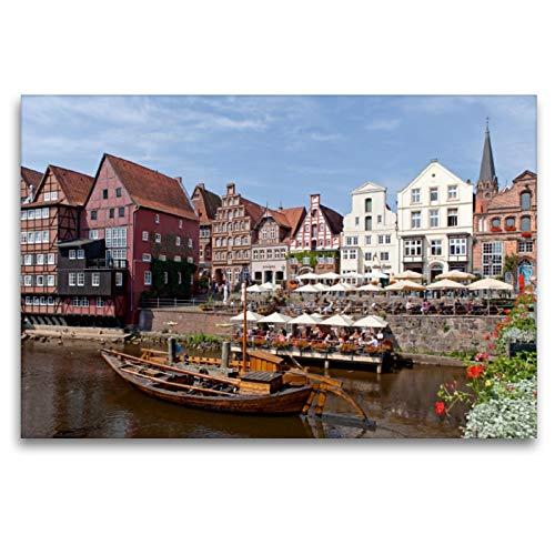 CALVENDO Premium Textil-Leinwand 120 x 80 cm Quer-Format Alter Hafen, Am Stintmarkt, Lüneburg, Leinwanddruck von Siegfried Kuttig