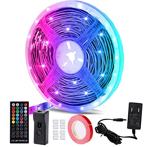LED Light Strips,Color Changing LED Strip Lights,Waterproof RGB LED Light Strip,Flexible Rope Lights with Remote Control for Bedroom Home Kitchen Christmas Decoration