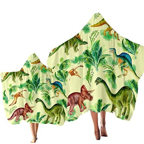 Toalla con capucha de dinosaurio para niños Jurassic Microfiber Toalla de baño con capucha Cartoon Boys Wearable Travel Beach Towel