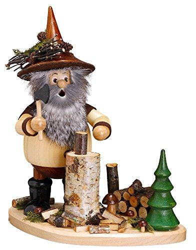 DWU Original Erzgebirgischer Räuchermann® Waldwichtel Holzhacker auf Brett Natur - inkl. Original Crottendorfer Räucherkerzen #899