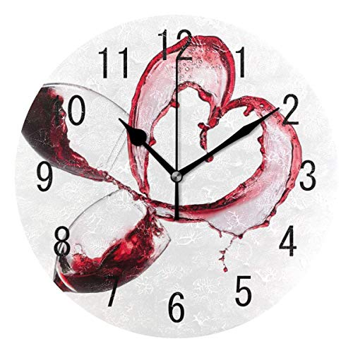 BAIYIN Reloj de pared redondo con diseño de corazón blanco y vino tinto, sin tictac, para cocina o dormitorio