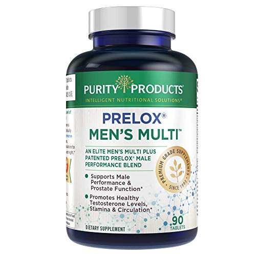 Men's High Performance Multi by Purity Products - Elite Men's Multivitamin + Patented Prelox Sexual Health Blend - Supports Healthy Testosterone, Prostate, Erectile Quality & Circulation* - 90 Tablets