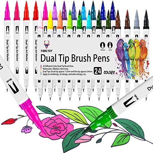 Rotuladores Lettering 24 Colores Rotulador Doble Punta Pincel y Punta Fina Acuarelables Permanentes Brush Pen Marcadores para Niños Adultos Lettering Arte Dibujo...