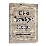 Dios Bendiga Este Hogar Home Decor — Canvas Wall Art — Regalos Cristianos Personalizados en Espanol (Light Beige, 12'x16')