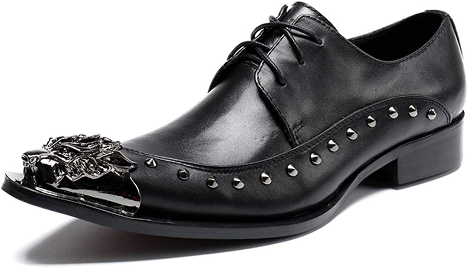 Men's Derby Formal Dress shoes Lace Up Genuine Leather Metal Pointed Toe Oxford shoes for Gent Work Utility Footwear