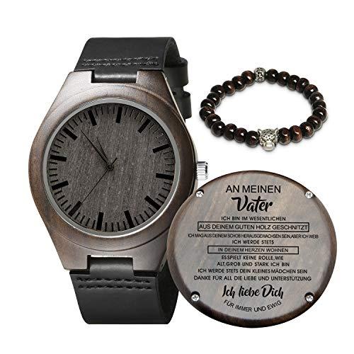 Gravierte hölzerne Uhr für Männer, natürliche hölzerne Groomsmen Uhr für Ehemann Sohn natürliche Ebenholz angepasst Holz Uhr Geburtstag Jubiläumsgeschenk (Mädchen An Vater)