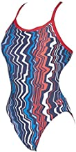 Arena Women's Zig zag Challenge MaxLife Thin Strap Open Back one Piece Swimsuit