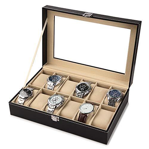BICCQ Caja de Reloj Ventana Negro Cuero Reloj Caja Caja Profesional Titular Organizador para Relojes de Reloj Cajas de joyería Caja de Viaje Mostrar Caja de Reloj (Color : 12Grids)
