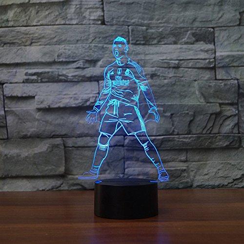 NIUBB 3D Fútbol jugador de fútbol de la noche lámpara de 7 colores cambian de luz LED táctil USB mesa regalo niños juguetes decoración Navidad San Valentín regalo cumpleaños