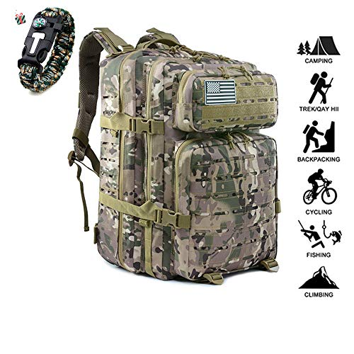 Odot 55L Military Attack Tactic Backpack Hiking Rucksack Waterproof Travel Bag Unisex Outdoor, Camping, Mountaineering, Walking, Cycling, Climbing Daypack (55L,CP)