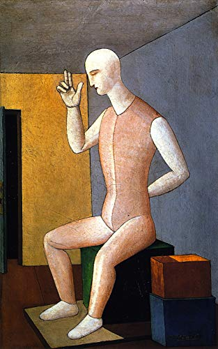 "Carlo Carra Hermaphroditic Idol 1917 Private Collection 30"" x 19"" Fine Art Giclee Canvas Print (Unframed) Reproduction"