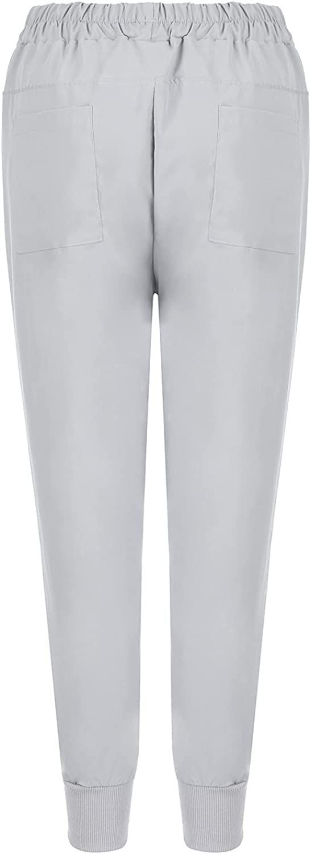 BEUU Women's Drawstring Linen Cropped Pants Women Summer Elastic Waist Soft Cotton Pants Solid Harem Pants for Women