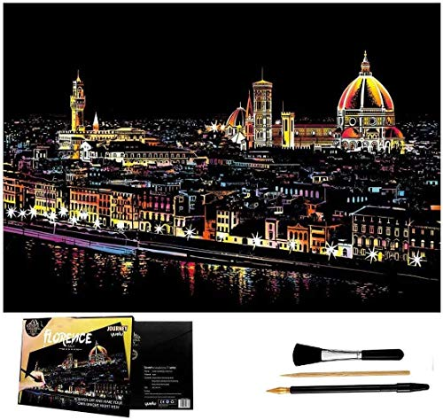 Wbeng Scratch Art Rainbow Painting Paper, Sketch Pad DIY Night View Scratchboard for Kids & Adults, Engraving Art & Craft Set, Scratch Painting Creative Gift, 16
