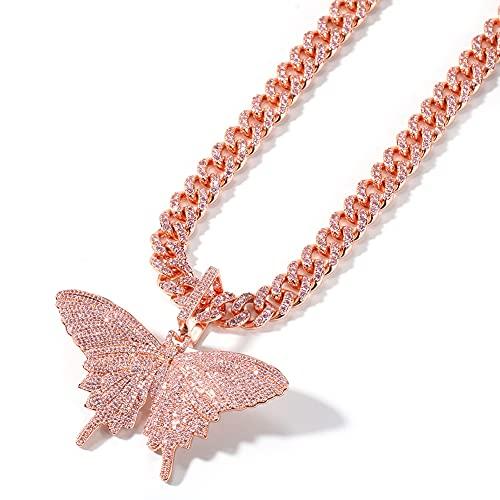 CHXISHOP Hip Hop Butterfly Necklace 18k Chapado en Oro Completamente CZ simulado Diamante de Diamante Rosa Mariposa Hip Hop Collar Pendiente para Hombres Mujeres Collar de mo B-20 Inches