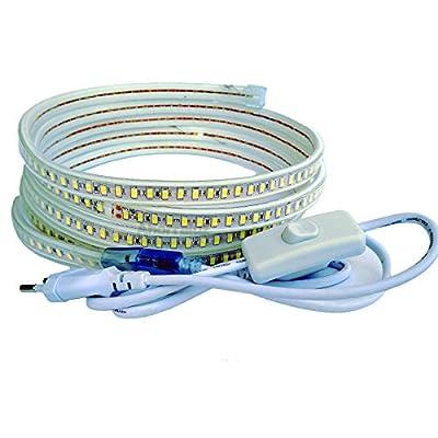 Tamaño: es la longitud en metros, toda continua sin cortes Color: tono blanco frío (6000-6500 kelvin) o blanco cálido (3000-3500 kelvin) Con interruptor y cable de 1m. De 220v directos sin transformador. Se enchufa directamente Impermeable (ip67), LE...