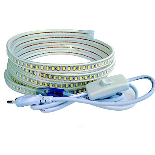 Tira Led de 220v 5730 120 Led/m con INTERRUPTOR. IMPERMEABLE Blanco Frío o Cálido Waterproof IP67 strip 5630 (1M, Blanco Cálido)