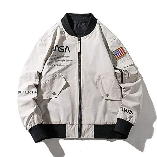 YGLCH Jacke männlich NASA Astronaut Luftwaffe Fliegerjacke männlich lose Studenten BaseballuniformMoto Street Coat, kurzes Unisex-Sweatshirt,Weiß,XL