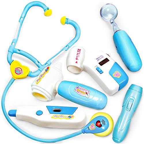BUYGER Medicos Doctora Juguetes Accesorios Doctora Enfermería Kit Juegos de Imitacion Regalos para Niños, Azul