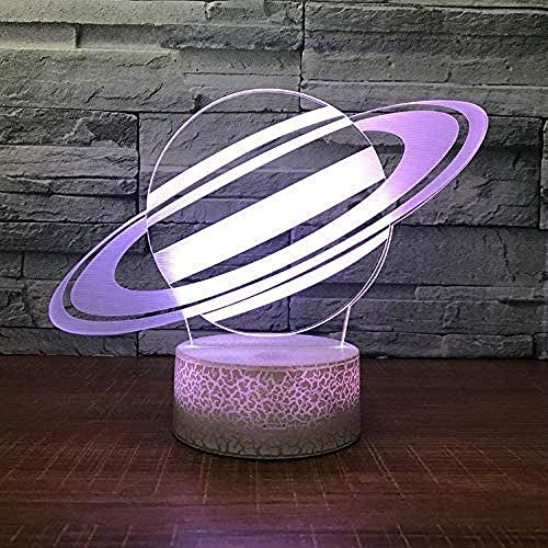 Nachtlicht Saturn Modell Riss optische Täuschung Lampe führte 3D-Lampe Nachtlicht Acrylatmosphäre Lampe 7 Farbe Neuheit Dekoration g