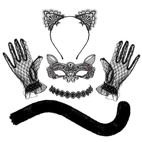 Whaline Black Cat Cosplay Costume Halloween Pizzo Gatto Cosplay Set Cat Eye Cover Coda Chocker Collana Orecchio Gatto Loop Capelli Mascherato Accessori Costume per Donna Ragazza Halloween Festa a Tema