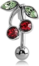 Bubble Body Jewelry Silver Color Jeweled Cherries Reverse Navel Banana 1.6mm Gauge 14g