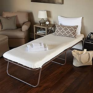 4 Inch mattress features premium cover 1 inch top layer of fiber padding plus 3 inches of Pressure Relieving Comfort Foam for support Deluxe steel frame with casters for easy transport Casters are uniquely positioned on the frame, so when it is open ...