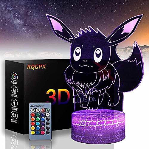Pokémon Eevee lámpara de ilusión 3D Playstation regalos 16 colores cambiantes lámpara de escritorio para niños Navidad cumpleaños regalos decoración del hogar
