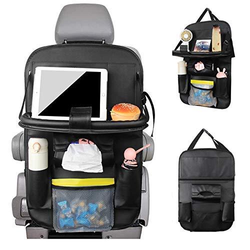 Yikaich Rückenlehnenschutz Auto Rücksitz Organizer für Kinder, mit Faltbare Tablet Unterschiedliche Lagerung für Aufbewahrung, Wasserdicht Schmutzabweisend, Schwarz