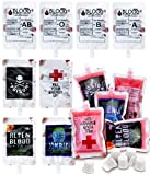 Nexxxi 36 Pack Blood Bags Drink Bulk, Halloween Blood Bags for Drinks Halloween Party Favors, Nurses Day Party Decorations, 8.5oz