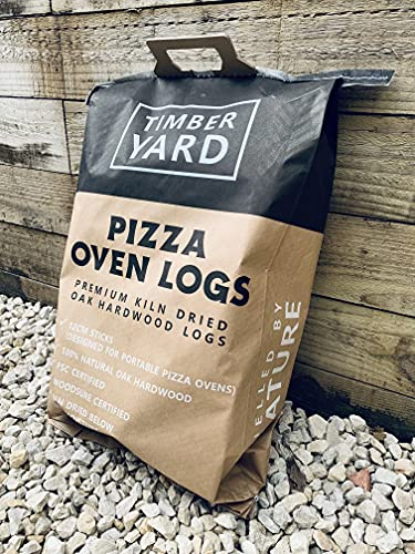 Mini Pizza Oven Logs (10-12cm) - 100% Kiln Dried Oak Hardwood - Approx 4KG - Fit Perfectly into Ooni and Other Leading Brands - Made in the UK - Includes 5 FREE Eco Firelighters