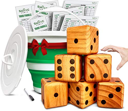 SWOOC Games - Yardzee, Farkle & 20+ Games - Giant Yard Dice Set (All Weather) with Collapsible Bucket, Lid, 5 Big Laminated Score Cards & Marker - Backyard Lawn Game - Indoor / Outdoor
