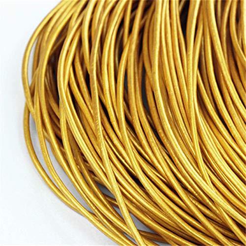 Echt leren koord echte schat huid kunst Ronde 5m kabel/touw/draad aan ketting, armband te maken,goud