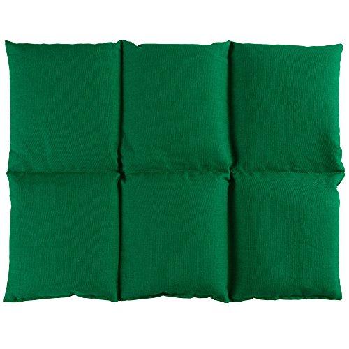 Bio-Dinkelkissen groß 40x30cm 6-Kammer, grün - Wärmekissen Dinkel Körnerkissen für Mikrowelle und Backofen - Dinkel-Kissen 30x40, grün